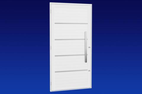 MIC Alumic - Porta Lambri Com Frisos Cromados e Puxador