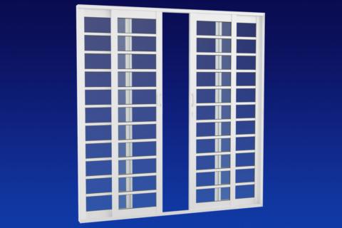 MIC Alumic - Porta de Correr Central Com Divisão Horizontal