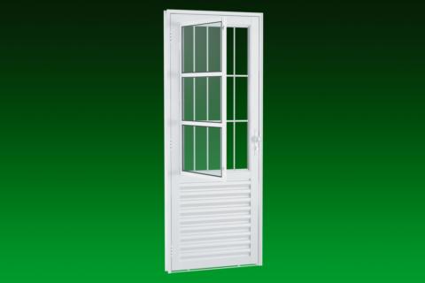 MIC Light Alumic - Porta com Grade e Postigo - 3 Vidros