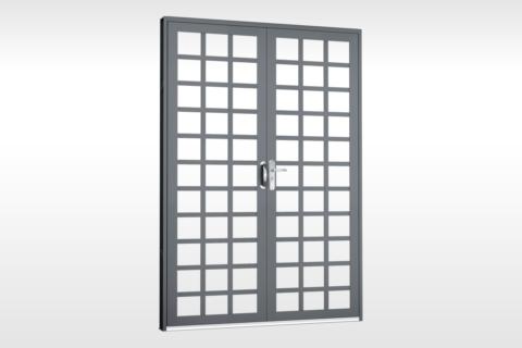 MIC Fort - Porta Dupla de Abrir Para Vidro Quadriculada
