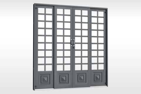 MIC Fort - Porta de Correr 200 - Para Vidro Quadriculada - Com 1 Almofada